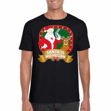 Lelijke kerstrui zwart santa is no vegan heren