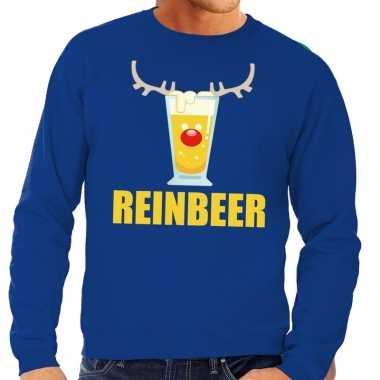 Lelijke kersttrui blauw biertje heren