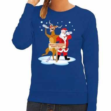 Lelijke kersttrui blauw een dronken kerstman rudolf dames