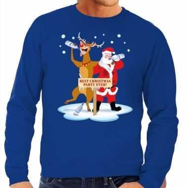 Lelijke kersttrui blauw een dronken kerstman rudolf heren