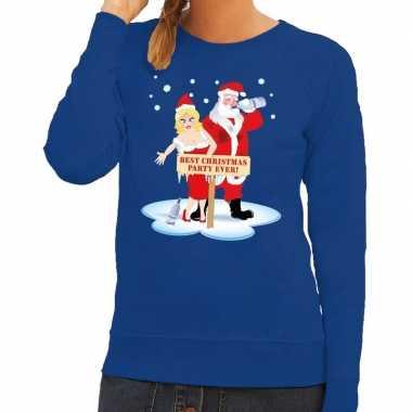 Lelijke kersttrui blauw een dronken kerstman zijn vrouw dames