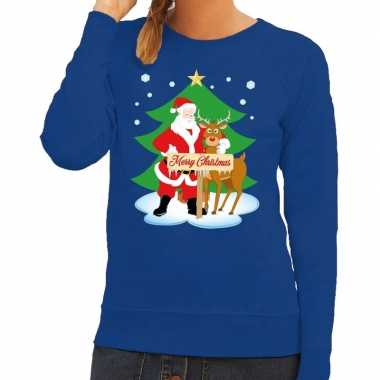 Lelijke kersttrui blauw kerstman rudolf dames