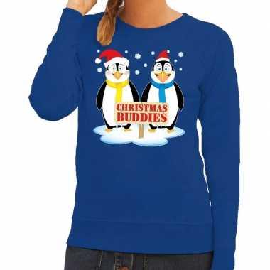 Lelijke kersttrui blauw pinguins dames