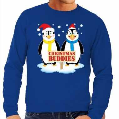 Lelijke kersttrui blauw pinguins heren
