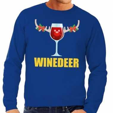 Lelijke kersttrui blauw wijntje heren