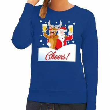 Lelijke kersttrui cheers dronken kerstman rudolf dames