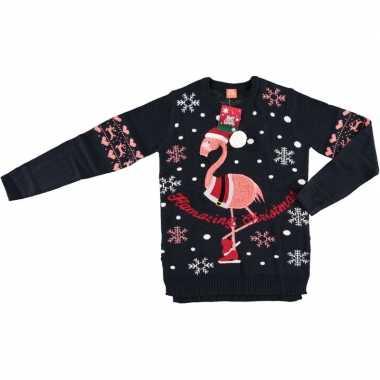 Lelijke kersttrui flamingo navy vrouwen