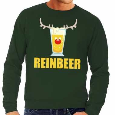 Lelijke kersttrui groen biertje heren