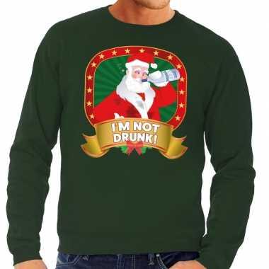 Lelijke kersttrui groen dronken kerstman drankfles heren