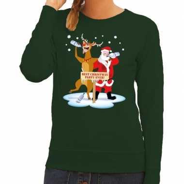 Lelijke kersttrui groen een dronken kerstman rudolf dames