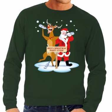 Lelijke kersttrui groen een dronken kerstman rudolf heren