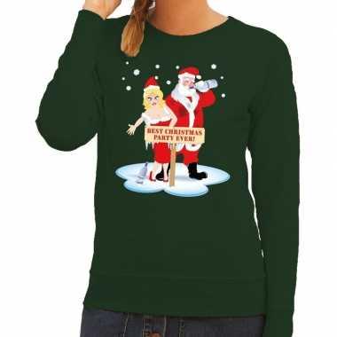 Lelijke kersttrui groen een dronken kerstman zijn vrouw dames