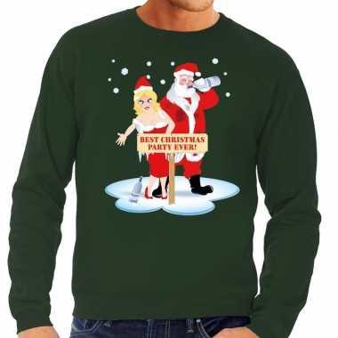 Lelijke kersttrui groen een dronken kerstman zijn vrouw heren