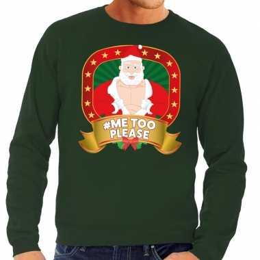 Lelijke kersttrui groen horny kerstman me please heren