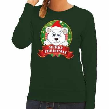 Lelijke kersttrui groen ijsbeertje dames