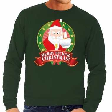 Lelijke kersttrui groen kerstman middelvinger merry fucking christmas