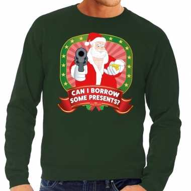 Lelijke kersttrui groen kerstman pistool can i borrow some presents h