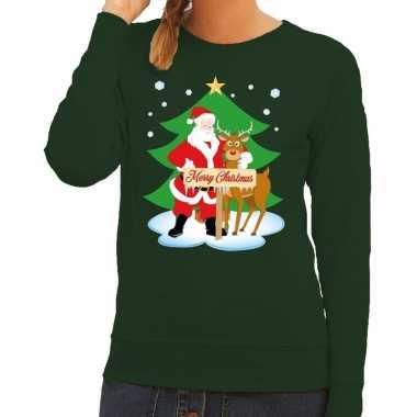 Lelijke kersttrui groen kerstman rudolf dames