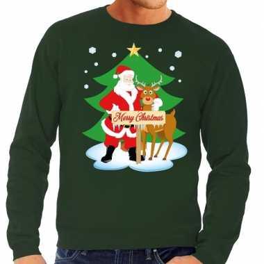 Lelijke kersttrui groen kerstman rudolf heren
