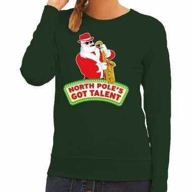 Lelijke kersttrui groen kerstman saxofoon dames