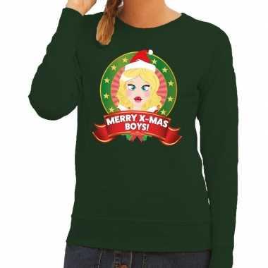 Lelijke kersttrui groen kerstvrouwtje dames