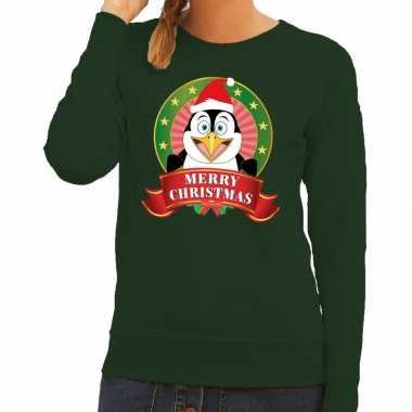 Lelijke kersttrui groen pinguin dames