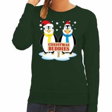 Lelijke kersttrui groen pinguins dames
