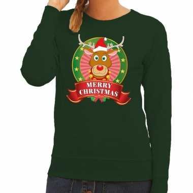 Lelijke kersttrui groen rudolf rendier dames