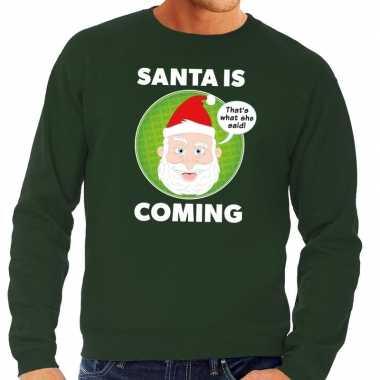 Lelijke kersttrui groen santa is coming heren