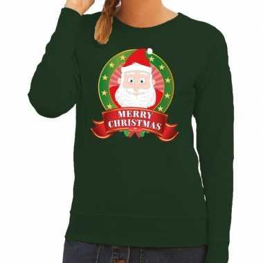 Lelijke kersttrui groen santa merry christmas dames