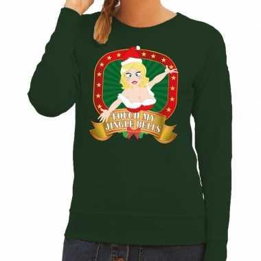 Lelijke kersttrui groen touch my jingle bells dames