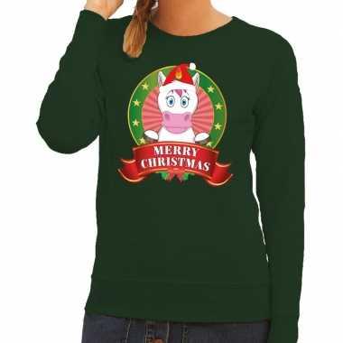 Lelijke kersttrui groen unicorn dames