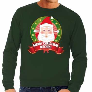 Lelijke kersttrui groen verliefde kerstman heren