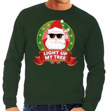 Lelijke kersttrui groen wiet rokende kerstman light up my tree heren