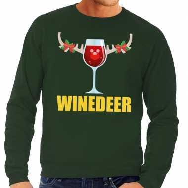 Lelijke kersttrui groen wijntje heren