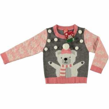 Lelijke kersttrui ijsbeer grijs meisjes maat /