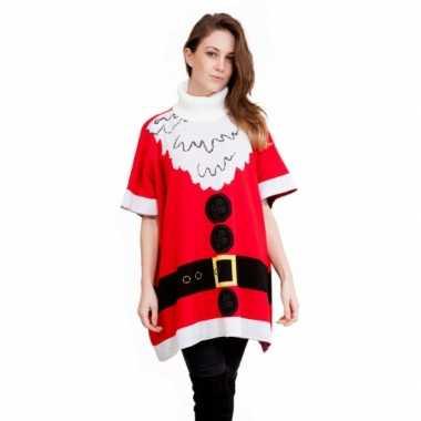 Lelijke kersttrui kerstman poncho