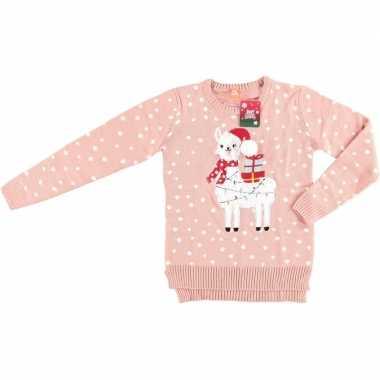 Lelijke kersttrui lama/alpaca roze vrouwen