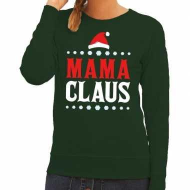 Lelijke kersttrui mama claus groen dames / moeders