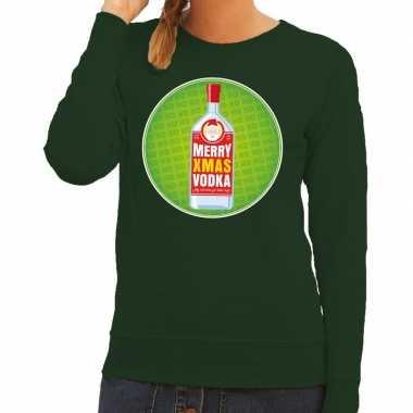 Lelijke kersttrui merry x mas vodka groen dames
