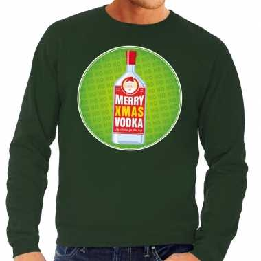 Lelijke kersttrui merry x mas vodka groen heren