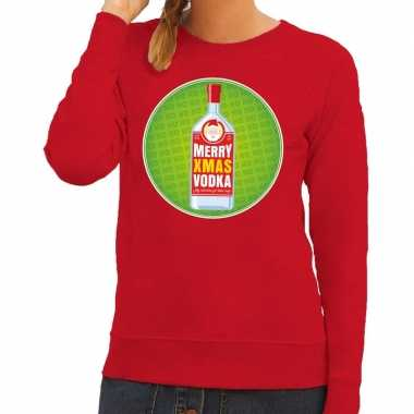 Lelijke kersttrui merry x mas vodka rood dames