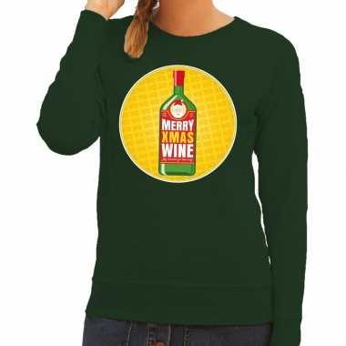 Lelijke kersttrui merry x mas wine groen dames