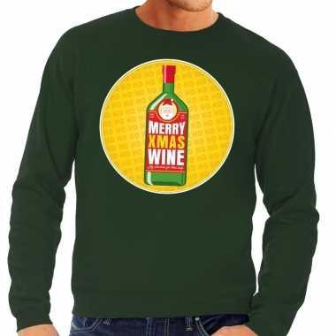 Lelijke kersttrui merry x mas wine groen heren
