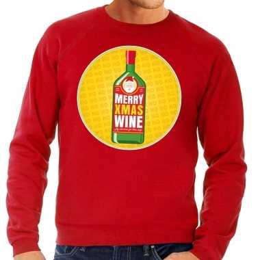 Lelijke kersttrui merry x mas wine rood heren