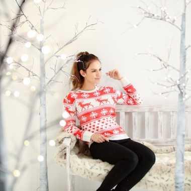 Lelijke kersttrui nordic print rood/wit dames