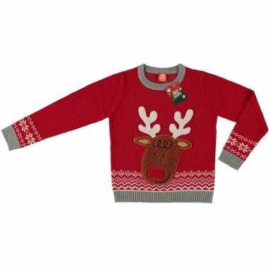 Lelijke kersttrui rendier rood kinderen