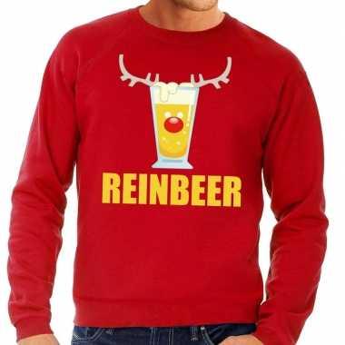 Lelijke kersttrui rood biertje heren