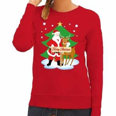 Lelijke kersttrui rood kerstman rudolf dames