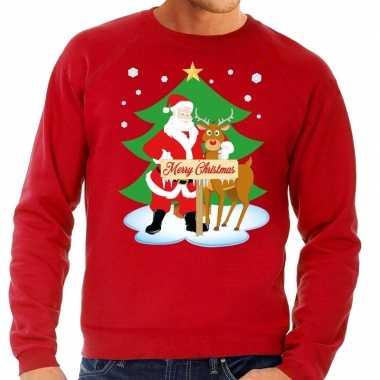 Lelijke kersttrui rood kerstman rudolf heren